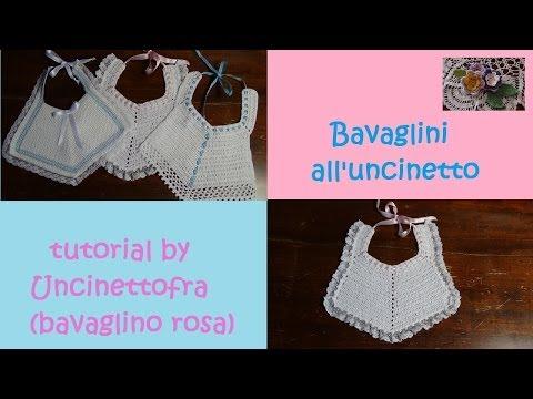 Bavaglini all'uncinetto tutorial (bavaglino rosa)