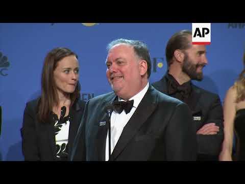 Sam Rockwell, 'The Handmaid's Tale' showrunner Bruce Miller and star Elisabeth Moss talk backstage a