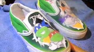 DIY TMNT Custom Shoes Time Lapse - Laura Tenneson - YouTube