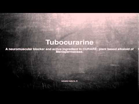 Medical vocabulary: What does Tubocurarine mean