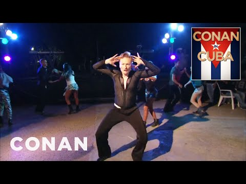 Conan O'Brien show is now the first American late-night show to film in Cuba since the US embargo began in 1962. Here's a clip of Conan learning the Cuban rumba there!