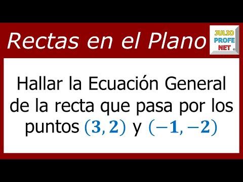 Ecuación allgemeine de una recta dados dos puntos