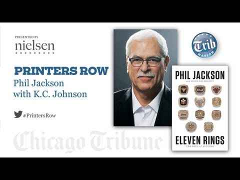 Jackson - Chicago Tribune sports columnist K.C. Johnson interviews legendary NBA coach Phil Jackson at a Printer's Row live event at the Palmer House Hilton, Chicago I...