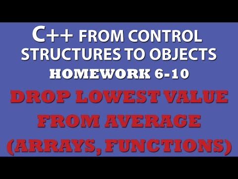 C++ Lowest Score Drop from Average (Ex 6-10) – C++ arrays, C++ functions, C++ loops