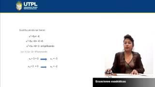 UTPL ECUACIONES CUADRÁTICAS [(CCEE - FÍSICO MATEMÁTICAS)(MATEMÁTICA I)]