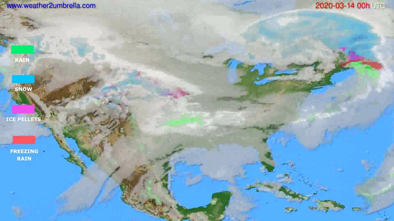 Precipitation forecast USA & Canada // modelrun: 00h UTC 2020-03-13