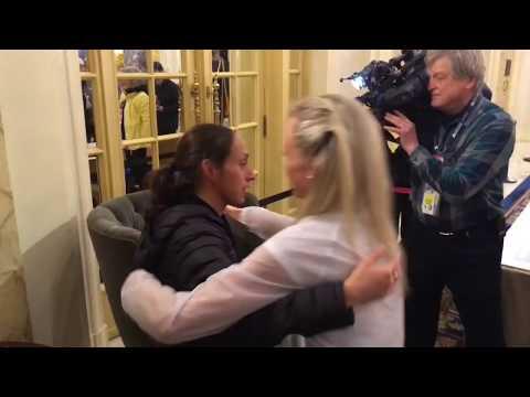 2018 Boston Marathon: Shalane Flanagan hugs winner Desiree Linden
