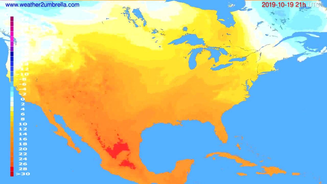 Temperature forecast USA & Canada // modelrun: 00h UTC 2019-10-18