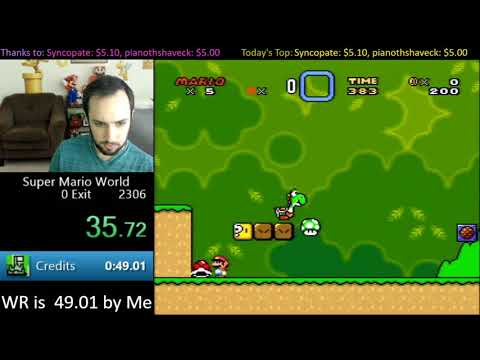 "Speedrunner ""SethBling"" completes Super Mario World in 45.92s by using pixel perfect movements and controller inputs to execute code and warp to the final credits."