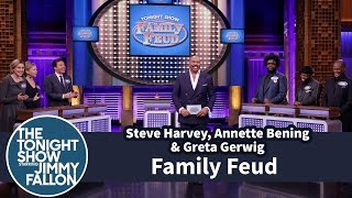 Video Tonight Show Family Feud with Steve Harvey, Annette Bening and Greta Gerwig MP3, 3GP, MP4, WEBM, AVI, FLV Juli 2019