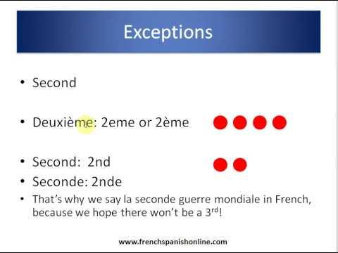 Ordnungszahlen im Französischen