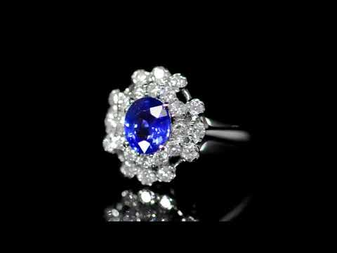 Lady's 18k White Gold 1.14ct Blue Sapphire and Diamond Ring