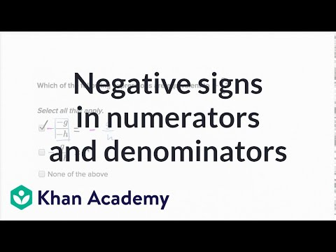 Negative Signs In Fractions Video Khan Academy