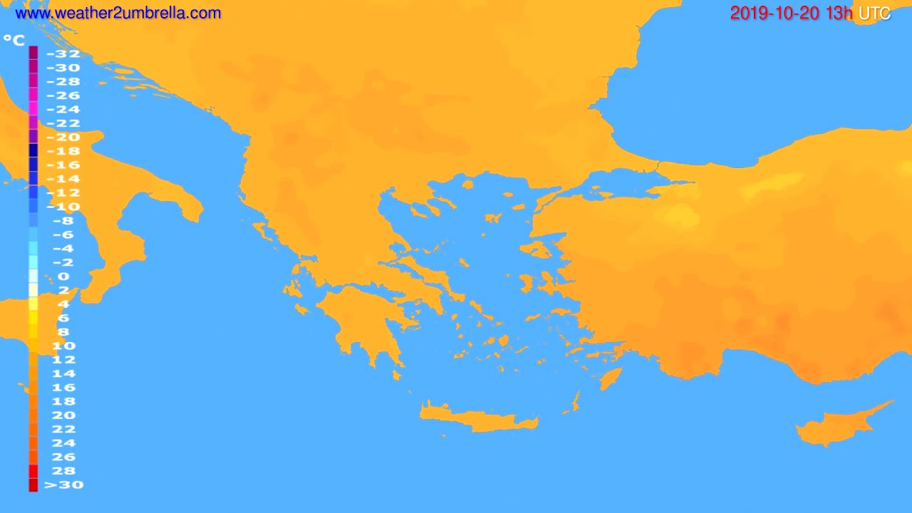 Temperature forecast Greece // modelrun: 12h UTC 2019-10-18
