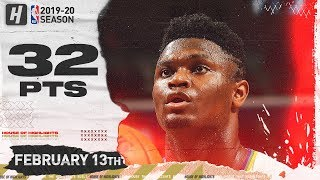 Zion Williamson EPIC 32 Pts Full Highlights | Thunder vs Pelicans | February 13, 2020