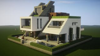 Minecraft - How to build a Realistic Modern Mansion in a Futuristic style!