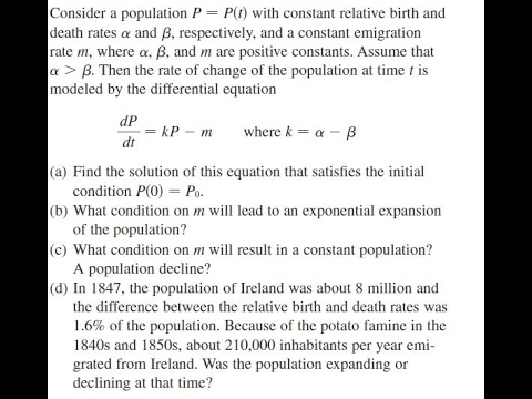 Consider a population P = P(t) with constant relative birth