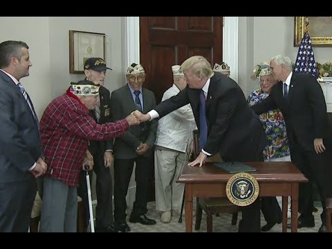 Trump Signs Pearl Harbor Day Declaration - Full Ceremony With Vets And Comments