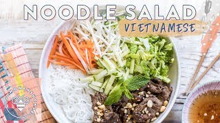 #BuzyBeez I'm obsessed with Noodle Salads this Summer. Today I'm making a Vietnamese Lemongrass Beef Noodle salad so let's get right into it! SUBSCRIBE: https://www.youtube.com/user/honeysucklecatering?sub_confirmation=1Soba Noodle Salad: https://youtu.be/MBw3bZZjJskSoba Noodle Stir Fry: https://youtu.be/nxGUkccjkGEVietnamese Spring Rolls: https://youtu.be/O_mSYnLUSygVietnamese Noodle Salad Recipe:Meat Marindade:3 tbsp minced Lemongrass1 chopped yellow Onion1 lb Sliced Tri-Tip Steak2 tsp Sugar1 1/2 tbsp Fish Sauce3 cloves minced Garlic1 1/2 tbsp Oyster Sauce1/2 tsp Sesame OilMix in together and marinate 30 minutesFresh Salad Veggies:Chopped Romaine LettucePickled Daikon and CarrotsChopped MintBean SproutsShredded CucumbersFish Sauce Vinaigrette (Nuoc Mam Cham):2 tbsp Fish Sauce2 tbsp White Vinegar2 tbsp Sugar1/2 cup warm Water1 clove minced GarlicChili Garlic Sauce (optional)Mix together until sugar dissolvesThin Rice Noodles: http://bit.ly/2sQUmV7Cook and Drain, let coolIn a pan add some Olive Oil and when hot, stir fry the beef and onions, taking care not to crowd. When golden brown, remove.In a bowl layer in the noodles, fresh vegetables and herbs, meat, and garnish with mint and dress with the Fish Sauce dressing. Enjoy!Music by Lullatone: https://www.youtube.com/user/lullashawnMaking things Fun, Pretty, and Delicious! Honeysuckle is a lifestyle channel for young adult women interested in entertaining and cooking at home.INSTAGRAM Follow me: instagram.com/honeysucklebeezBLOG: http://www.honeysucklecatering.com/© 2017 Honeysuckle Catering. All Rights Reserved.