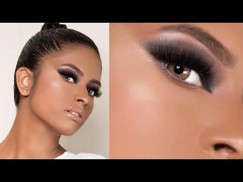 مكياج سموكي للبشرة السمرة مع فاطمة الدوسري /smokey makeup on dark skin (видео)