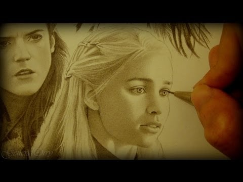Drawing Game of Thrones: Arya, Sansa, Catelyn, Ygritte, Daenerys, Melisandre, Cersei & Margaery