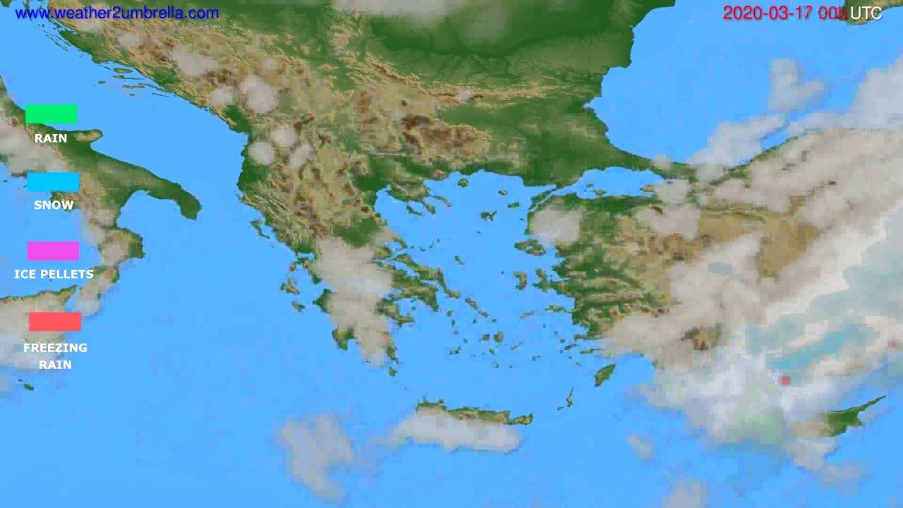 Precipitation forecast Greece // modelrun: 00h UTC 2020-03-16
