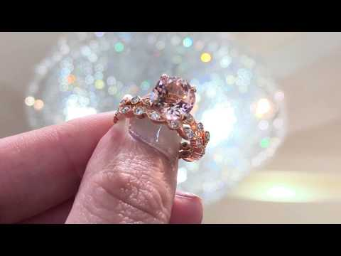 Mabelle Vintage Morganite Bridal Set at Princess Bride Diamonds
