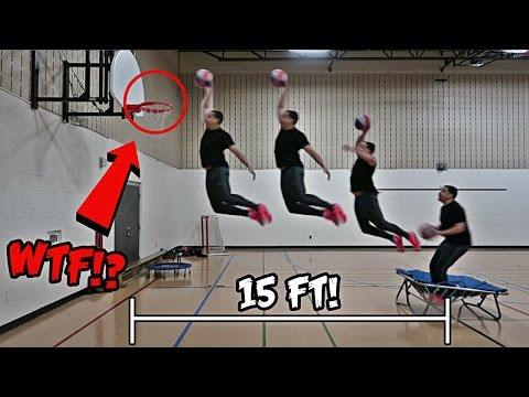 IMPOSSIBLE TRAMPOLINE BASKETBALL TRICK SHOTS AND DUNKS!!! (видео)