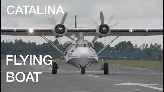 Please read the pinned comment for the short cuts time start !    Beautiful Vintage Catalina flying boat impressive engines starting up sound , takeoff , landing and flypast at Blackbushe 2017 festival of flight. An amphibious aircraft of the 1930s and 1940s She was one of the most widely used seaplanes of World War II. Catalinas served with every branch of the United States Armed Forces and in the air forces and navies of many other nations.During World War II, PBYs were used in anti-submarine warfare, patrol bombing, convoy escorts, search and rescue missions (especially air-sea rescue), and cargo transport. The PBY was the most numerous aircraft of its kind and the last active military PBYs were not retired from service until the 1980s. In 2014, nearly 80 years after its first flight, the aircraft continues to fly as a water bomber (or air tanker) in aerial firefighting operations all over the world. General characteristicsCrew: 10 — pilot, co-pilot, bow turret gunner, flight engineer, radio operator, navigator, radar operator, two waist gunners, ventral gunnerLength: 63 ft 10 7/16 in (19.46 m)Wingspan: 104 ft 0 in (31.70 m)Height: 21 ft 1 in (6.15 m)Wing area: 1,400 ft² (130 m²)Empty weight: 20,910 lb (9,485 kg)Max. takeoff weight: 35,420 lb (16,066 kg)Zero-lift drag coefficient: 0.0309Drag area: 43.26 ft² (4.02 m²)Aspect ratio: 7.73Powerplant: 2 × Pratt & Whitney R-1830-92 Twin Wasp radial engines, 1,200 hp (895 kW each) eachPerformanceMaximum speed: 196 mph (314 km/h)Cruise speed: 125 mph (201 km/h)Range: 2,520 mi (4,030 km)Service ceiling: 15,800 ft (4,000 m)Rate of climb: 1,000 ft/min (5.1 m/s)Wing loading: 25.3 lb/ft² (123.6 kg/m²)Power/mass: 0.034 hp/lb (0.056 kW/kg)Lift-to-drag ratio: 11.9______________________________________________________________________________________________________This video is copyright by TopFelya © All illegal reuploads will be removed