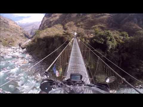 Riding The Suspension Bridge at Karte in Manang