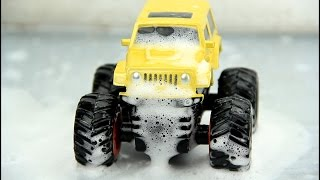 Monster truck stuck in the mud & Car wash Video For Kids