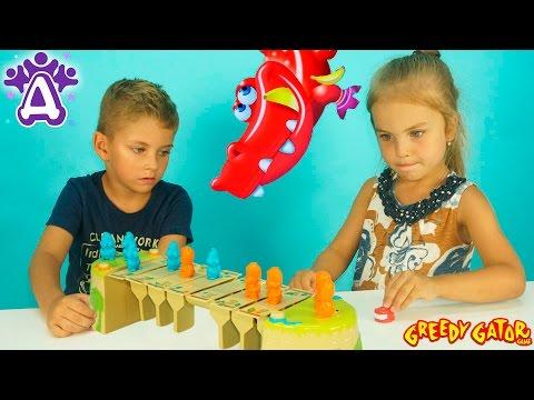 Видео для детей. Жадный Крокодил Игра Распаковка Unboxing toys Greedy Gator Game for children (видео)