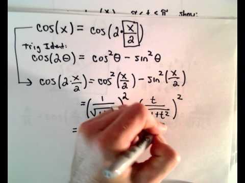 Integrieren rationale Funktion von Sinus und Cosinus, t = tan (x / 2), Teil 1