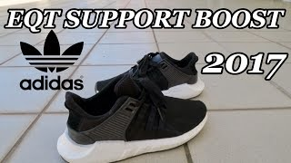 NEW 2017 Adidas EQT Support 93/17 Black - White Unboxing & Review