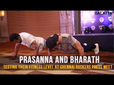Prasanna-and-Bharath-testing-their-fitness-level-at-Chennai-Rockers-press-meet
