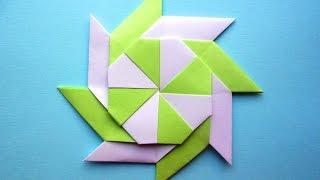 Оригами звезда - трансформер из бумаги Звезда ниндзя сюрикен