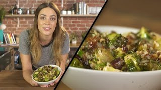 Megan shows us how to make roasted brussels sprouts with dates and Manchego cheese that will spruce up any main dish.