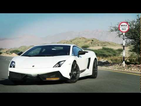 oman - Lamborghini Gallardo LP 570-4 Superleggera crossing the twisted roads of Oman. The driver meets the 0.8 KM missile straight line that ends with a dirt road l...
