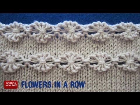 fila di fiori allineati lavorati a maglia
