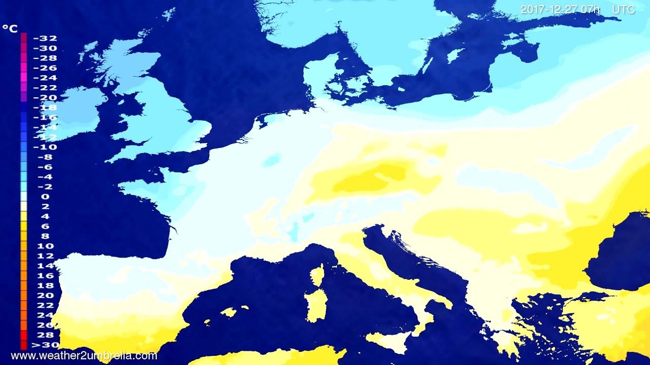 Temperature forecast Europe 2017-12-27