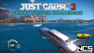Just Cause 3 Challenge Video rules:Copy any challenge as long as you change it so it's not the same.Post as many challenges on the same challenge video as you want but always make a new comment do not post on replies or use capsWhen posting a challenge keep it to one comment on one video. Do not spam on other videos, or use exclamation points or emoji.Do not change your comment once I accept it.Challenges should be posted before 9:00 AM on Thursday to be candidates for the following week's Challenge videos.Friday Viewer Challenges comes out Friday 7:00 amFriday Featured Viewer Challenge comes out Friday 9:00 pmSaturday Challenge Event comes out Saturday 9:00 pmall times are (MDT)---All Music used in the video provided by NoCopyrightsounds [NCS]Intro - Desmeon - Hellcat [NCS Release]Anna Yvette & AFK - Clouds [NCS Release]Diviners - Savannah (feat. Philly K) [NCS Release]Geoxor - You & I [NCS Release]Jensation - Donuts [NCS Release]John Kenza - Wicked [NCS Release]All Music used in the video provided by NoCopyrightsounds [NCS]---want to see some cool Game GIF https://gfycat.com/@charleytank---Nanos channel (Show your support by checking out their channel):https://www.youtube.com/channel/UC13x8ujr2JictFvUFITYyMA---Nanos Development blogs for the Multiplayer can also be found here:https://community.nanos.io/---Check out Gaveroid on YouTube https://www.youtube.com/user/gaveroid418 I also play on his JC3MP server http://discord.gaveroid.com come join the fun---Game Servers--------Gaveroid's JC2MP Server - jc-mp.gaveroid.com--------Gaveroid's JC3MP Server - jc3mp.gaveroid.com--------Gaveroid's Garry's Mod DarkRP Server - gmod.gaveroid.com--------Gaveroid's TeamSpeak 3 Server - teamspeak.gaveroid.com--------Gaveroid's CSGO Server - (find in server browser, search Gaveroid)---Protato (An awesome Just Cause 3 Modder!):https://www.youtube.com/user/Eonzenx---Check out Decrepit Chef on YouTubehttps://www.youtube.com/user/jasarmj7---You Do not have permission to copy any portion