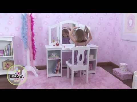 Coiffeuse en Bois pour enfant avec Chaise et Triple miroir Kidkraft