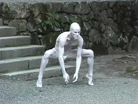 performance - Part of Swiss Butoh dancer Imre Thormann's performance at Hiyoshi Taisha Shrine in Shiga (Japan) in summer 2006. The live music is by Swiss jazz pianist Nik ...