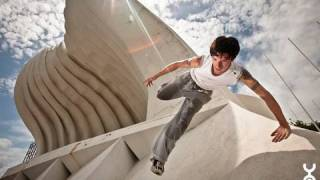 Stephane Vigroux, Dan Edwardes, Chris 'Blane' Rowat (from Parkour Generations) and Johnny 'Sticky' Budden, went to...