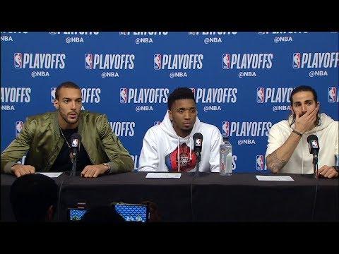 Rubio, Gobert & Mitchell Postgame Interview - Game 1 | Jazz vs Rockets | 2019 NBA Playoffs