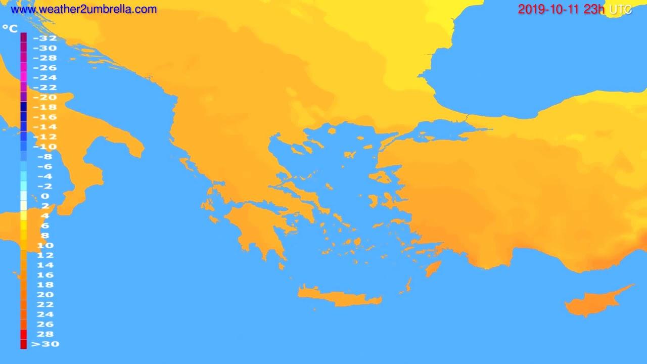 Temperature forecast Greece // modelrun: 12h UTC 2019-10-08