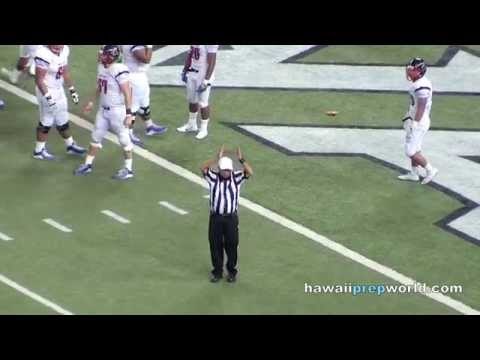 Saint Louis holding penalty in end zone, safety for Punahou 10/24/15