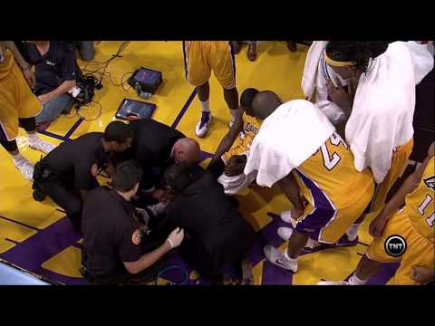 Taken - Los Angeles Lakers rookie forward Julius Randle suffers a broken leg during his NBA debut against the Houston Rockets.