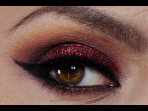 Red Glitter Eye Shadow Makeup (Holiday Makeup Tutorial 2014)