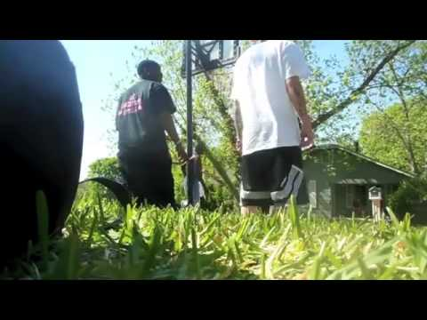 Mormon missionaries play basketball